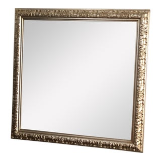 Vintage Silver Frame Beveled Mirror Made in Italy For Sale
