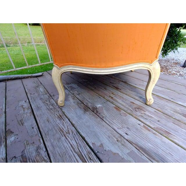Henredon White Frame Orange Upholstery Louis XV Down Fill Bergere Chair For Sale - Image 12 of 13