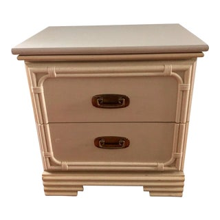 Vintage Chinoiserie Faux Bamboo & Brass Nightstand For Sale