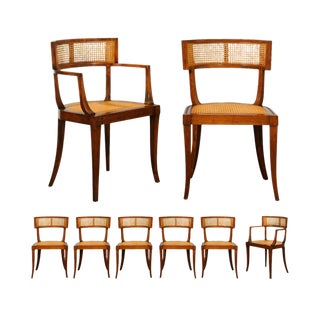 Exquisite Set of Eight Klismos Cane Dining Chairs by Baker Furniture, Circa 1958