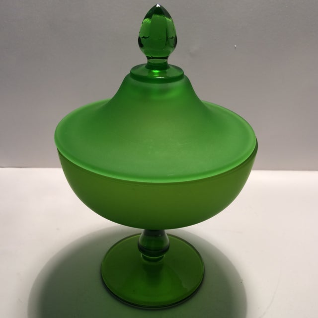 Westmorland 1940's Vintage Green Westmorland Green Glass Candy Dish For Sale - Image 4 of 11
