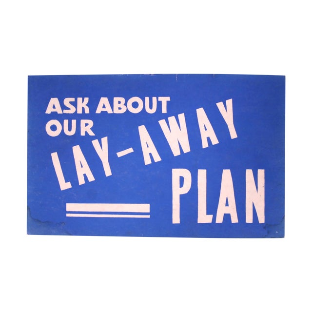 Lay-Away Plan Vintage Sign - Image 1 of 3
