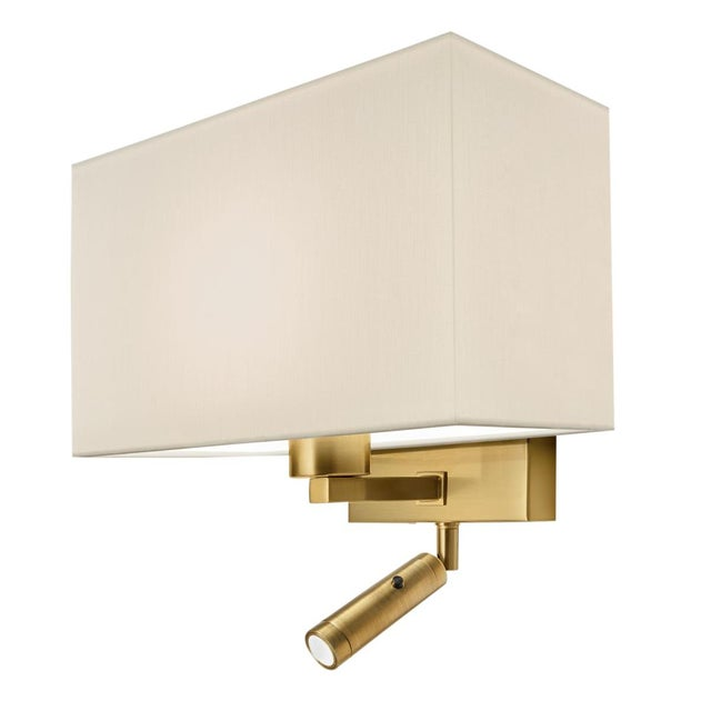 Mid-Century Modern Combination Wall Light With Led Reading Light in Brushed Brass For Sale - Image 3 of 3
