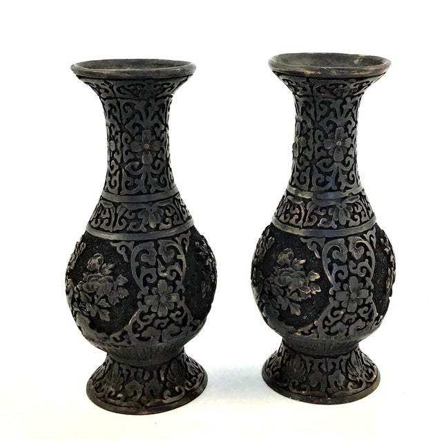 1940s Vintage Chinese Hand Carved Resin Vases- a Pair For Sale - Image 10 of 10