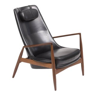 1960s Ib Kofod-Larsen for OPE High Back Seal Chair in Teak and Black Leather Chair For Sale