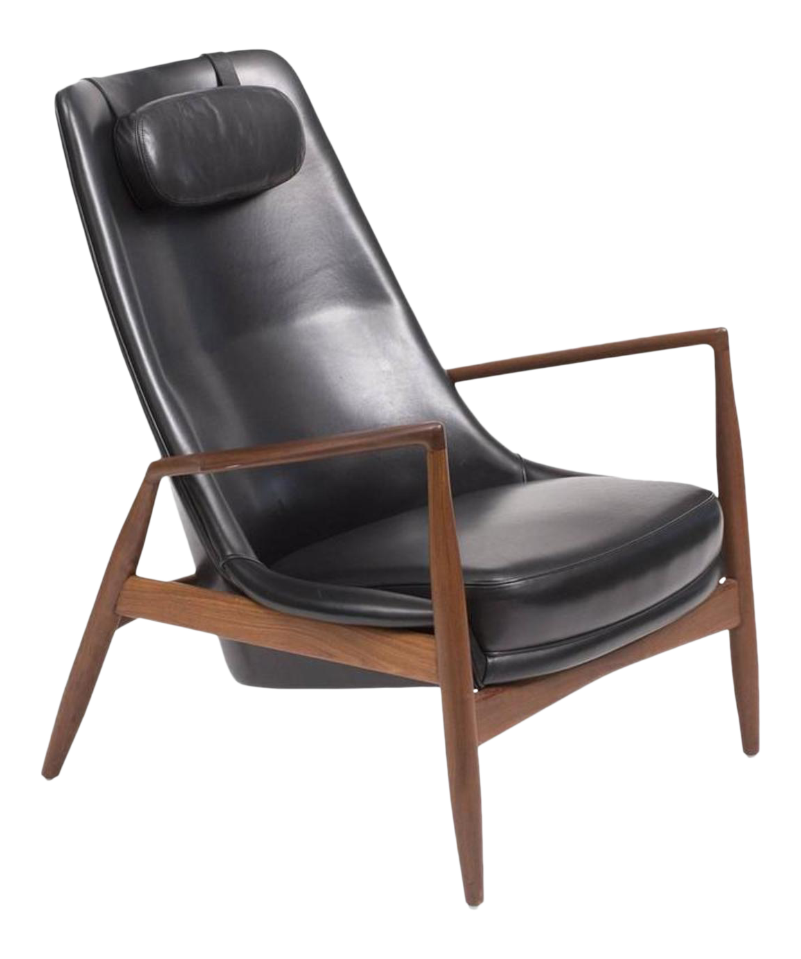 Bon Ib Kofod Larsen High Back Seal Chair In Teak And Black Leather For OPE,