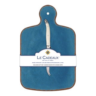 Antiqua Blue Melamine Cheese Board Gift Set with Laguiole Cheese Knife, Set of 2 For Sale