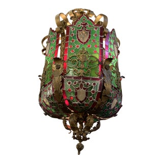 Antique Italian Baroque Style Cast Gilded Iron and Bronze Stained-Glass Paneled 12 Light Lantern Chandelier For Sale