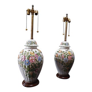 Large Marbro Floral Decorated Lamps- a Pair