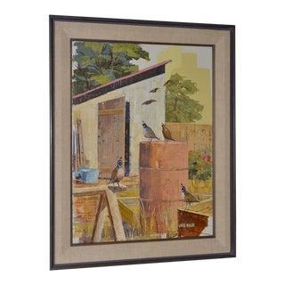 "Jack Wilson ""The Backyard Gang"" Original Palette Knife Painting C.1970 For Sale"