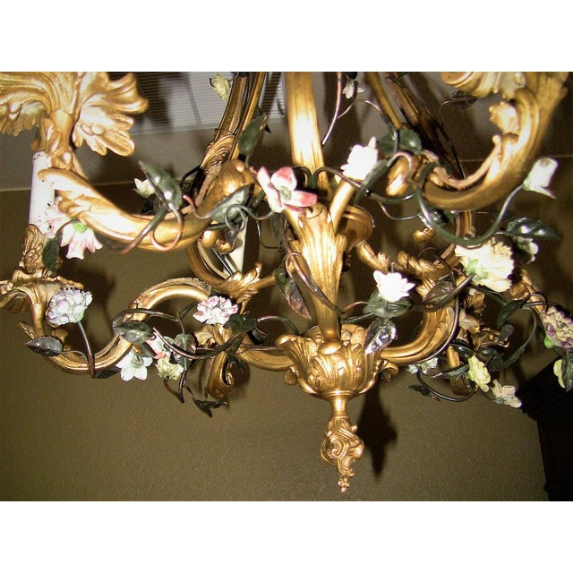 19c French Gilt Bronze Chandelier With Porcelain Flowers For Sale - Image 11 of 13