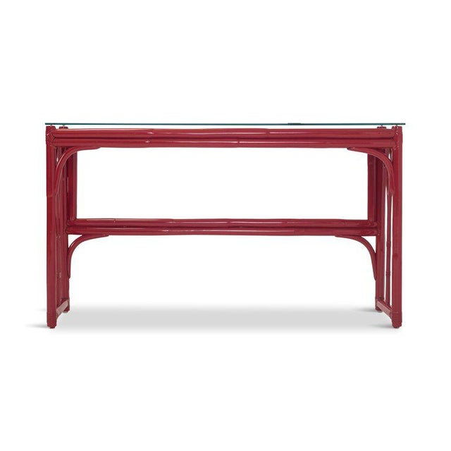 Vanity Table With Large Mirror in Red Lacquered Bamboo For Sale - Image 9 of 13