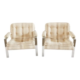 Milo Baughman / Thayer Coggin Chrome Armchairs - Pair