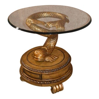 Carved Dragonfish Glass Top Accent Table For Sale