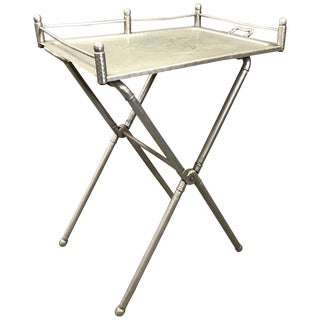 1940s Hollywood Regency Mary Wright for Everlast Metal Products Brushed Aluminum Folding Tray Table For Sale