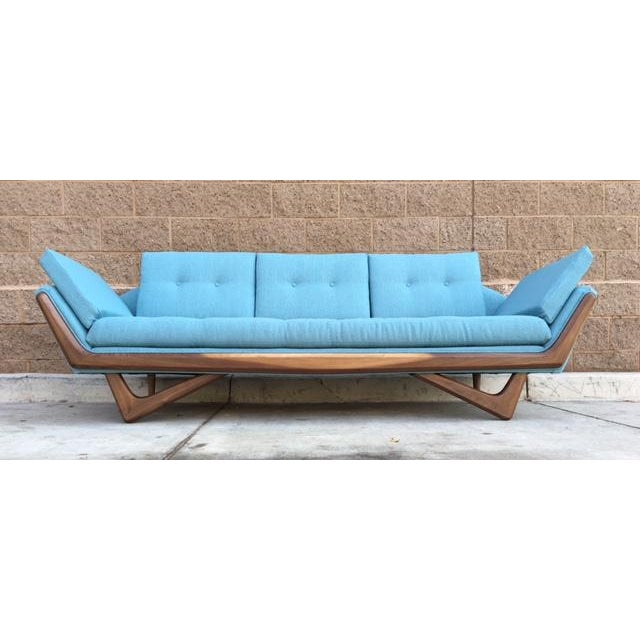 Mid-Century Sculptural Sofa in Powder Blue - Image 3 of 6