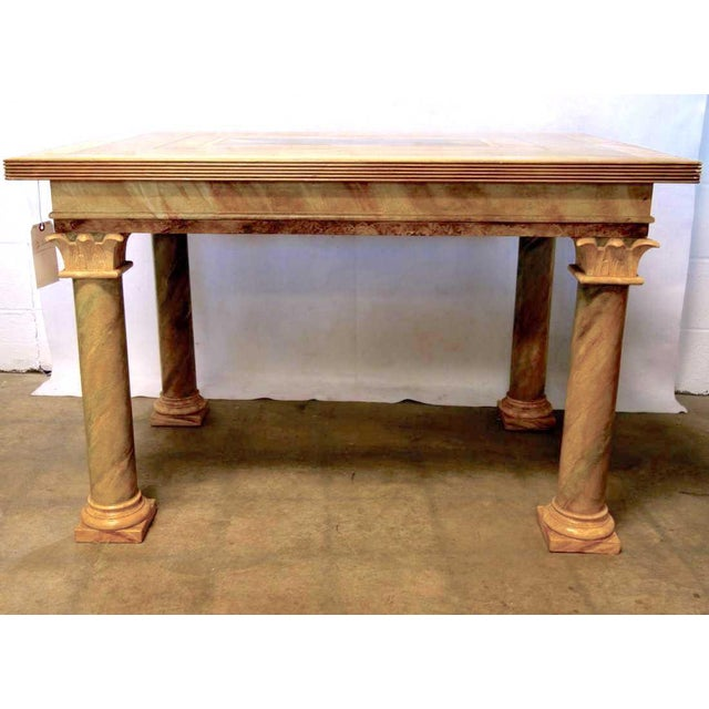 Yellow 1980s Vintage John Saladino Neoclassical Library Table For Sale - Image 8 of 8