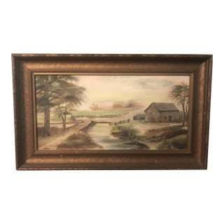 Vintage Rustic Log Cabin Painting For Sale