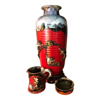 1950s Japanese Asian Pottery Vase, Dish & Pitcher Set- 3 Pieces For Sale