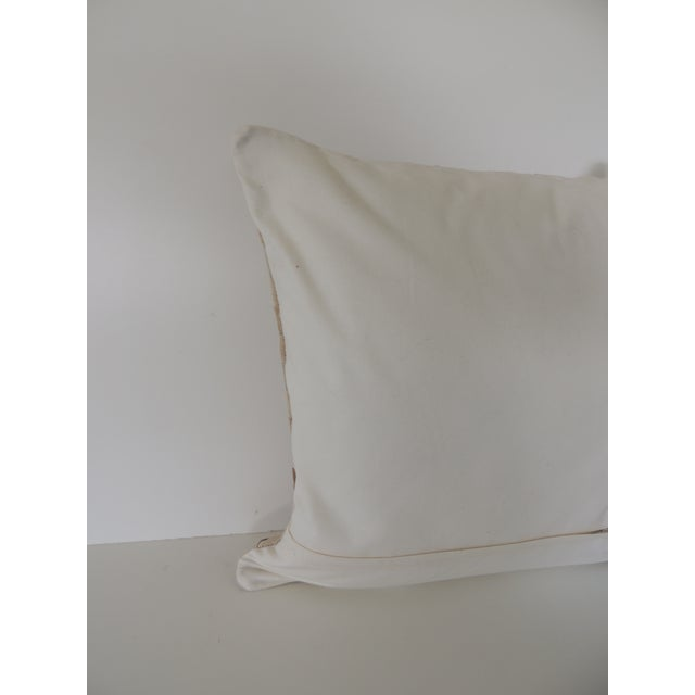 Tan and Brown Cowhide Basket Weave Decorative Pillow For Sale - Image 4 of 5