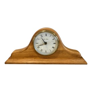 Mid Century Nautical Wooden Mantel Clock For Sale