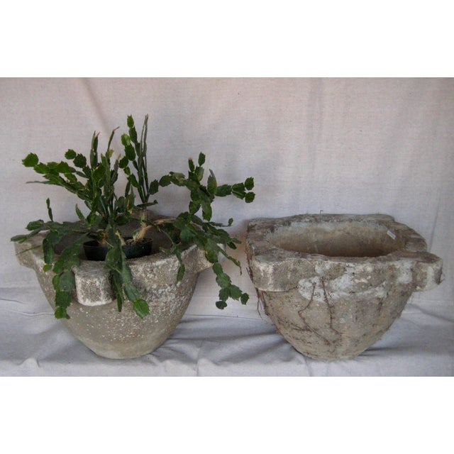 French Provincial Pair of French Country Rustic Concrete Garden Flower Planters For Sale - Image 3 of 12