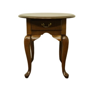 20th Century Queen Anne Cresent Furniture Solid Cherry Oval Side Table For Sale