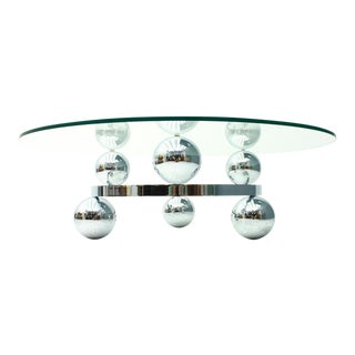 Atomic Chrome & Glass Coffee Table Space Age Sputnik 70s For Sale