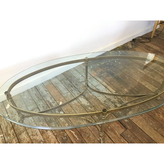 LaBarge Hollywood Regency Brass Oval Coffee Table For Sale - Image 7 of 7