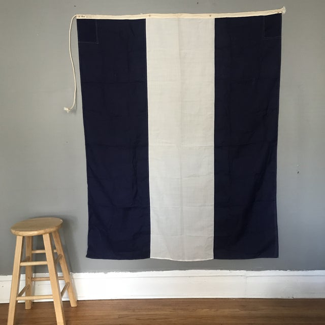 "This beautiful navy and white striped vintage nautical signal flag for ""J Juliet"" was used as part of an international..."