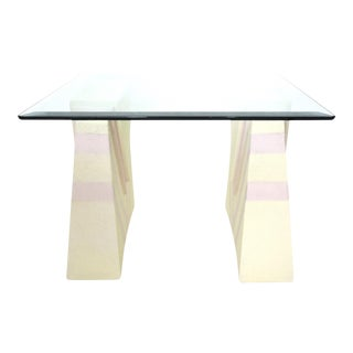 Square Palm Beach Style Side or Coffee Table, Plaster Pedestals - Indoor/Outdoor For Sale