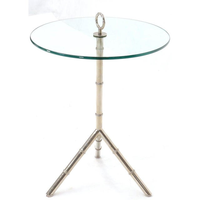 Mid-Century Modern Circular Glass Top Heavy Solid Nickel-Plated Accent Side Center Occasional Table For Sale - Image 3 of 13