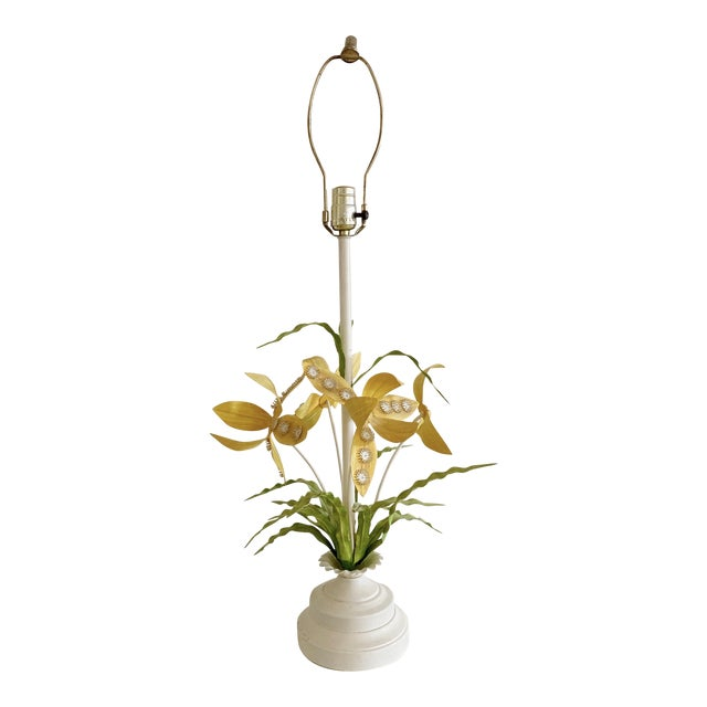 Regency Italian Tole Floral Table Lamp For Sale