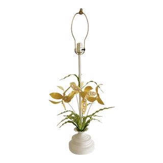 Vintage Regency Italian Tole Floral Table Lamp For Sale