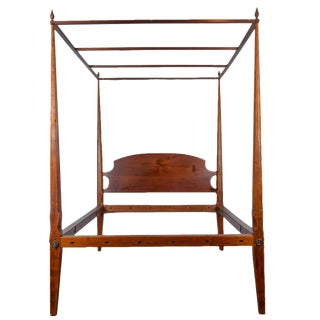 19th Century Federal Cherry Pencil Post Full Size Canopy Bedframe For Sale