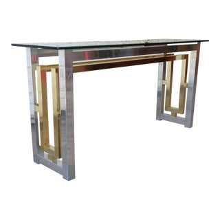Chrome and Brass Console Table in the Style of Romeo Rega For Sale