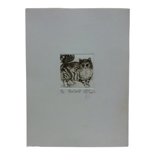 "1980s Vintage Limited Edition ""Maine Coon Cat"" Signed Numbered (201/300) Print by McGinnis For Sale"