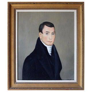 American School Folk Art Portrait of a Gentleman For Sale