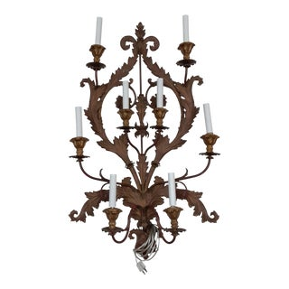 19th C. Italian Metal 8 Light Electrified Wall Sconce Newly Wired With Plug For Sale