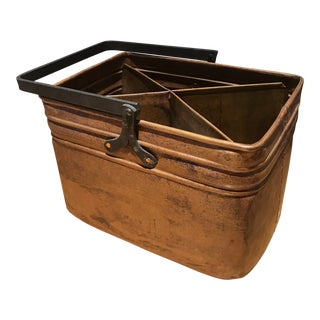 Patinated Copper Caddy For Sale