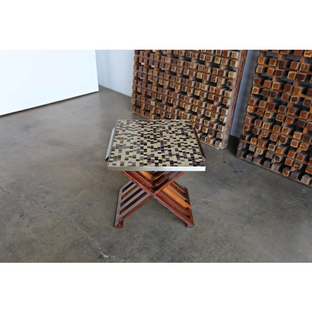 Edward Wormley X-Base Rosewood and Murano Tile-Top Table For Sale In Los Angeles - Image 6 of 12