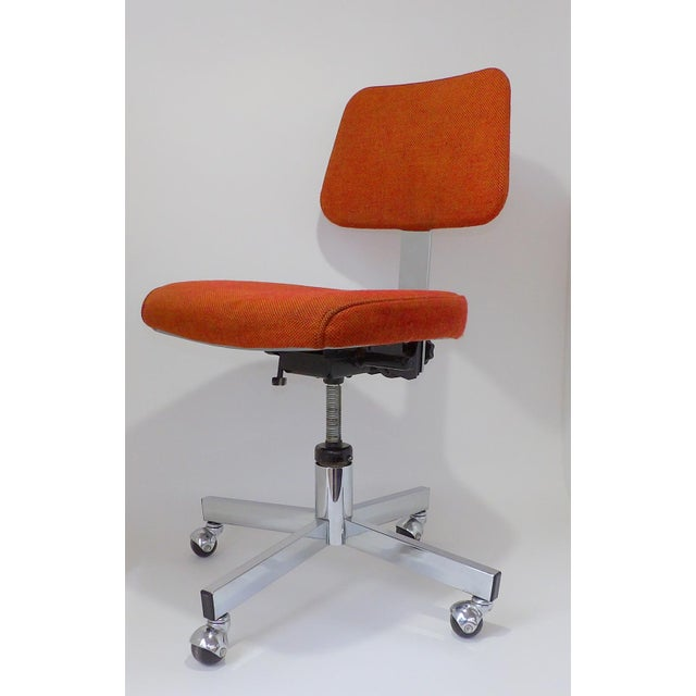 Mid Century Modern Interroyal Orange Wool Office Chair For Sale - Image 4 of 13