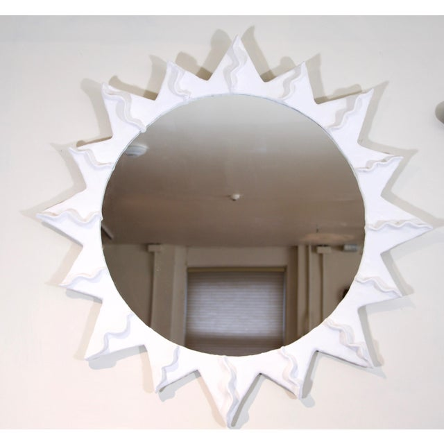 "unique version of a sunburst plaster mirror hollywood regency style. outside diameter: 37"" exposed mirror: 24 3/4"" depth:..."