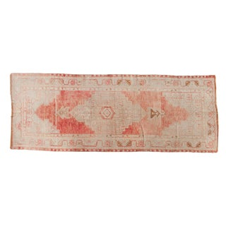 "Vintage Distressed Oushak Rug Runner - 3'5"" X 9'1"" For Sale"