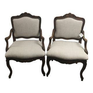 French Linen Upholstered Armchairs - a Pair