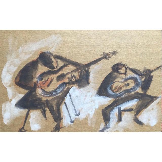 """Carmen Amaya Flamenco Guitarists"" Gouache Painting - Image 2 of 6"