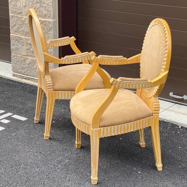 Wood 1980s John Hutton for Donghia Style Soleil Armchair - a Pair For Sale - Image 7 of 13