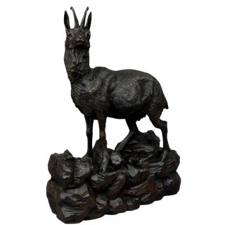 Great Carved Wood Chamois Sculpture 1900 For Sale
