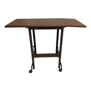 Vintage Industrial Double Drop Leaf Typewriter Table With Wood Top For Sale