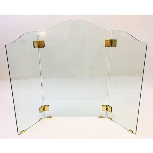 Modern Brass and Glass Fireplace Screen by Pace For Sale - Image 3 of 7